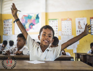 Cambodian kid attending English classes provided by VFRCC's volunteers